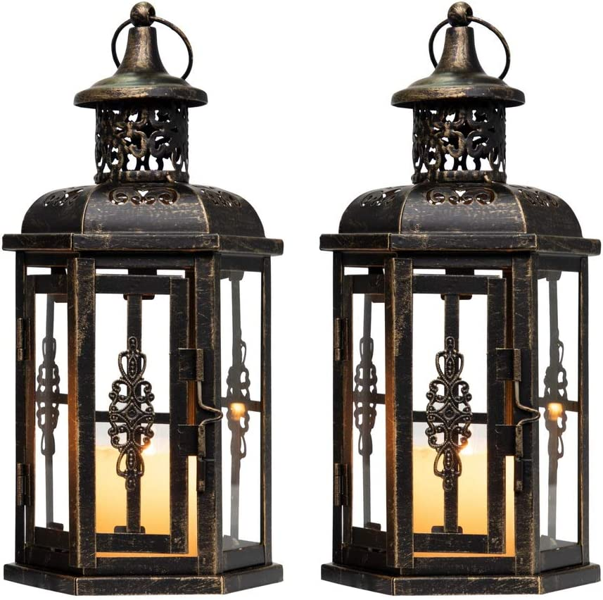 JHY DESIGN Set of 2 Decorative Lanterns -10 inch High Vintage Style Hanging Lantern Metal Candleholder Black with Gold Brush
