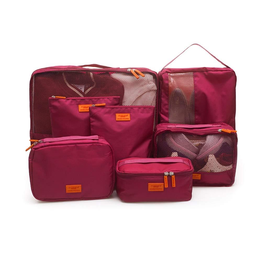 7、洗面用品、下着、履物、デジタルストレージバッグ、24-28インチのスーツケースに適した荷物オーガナイザーのトラベルストレージバッグキット (色 : Red)  Red B07M8Q2V9N