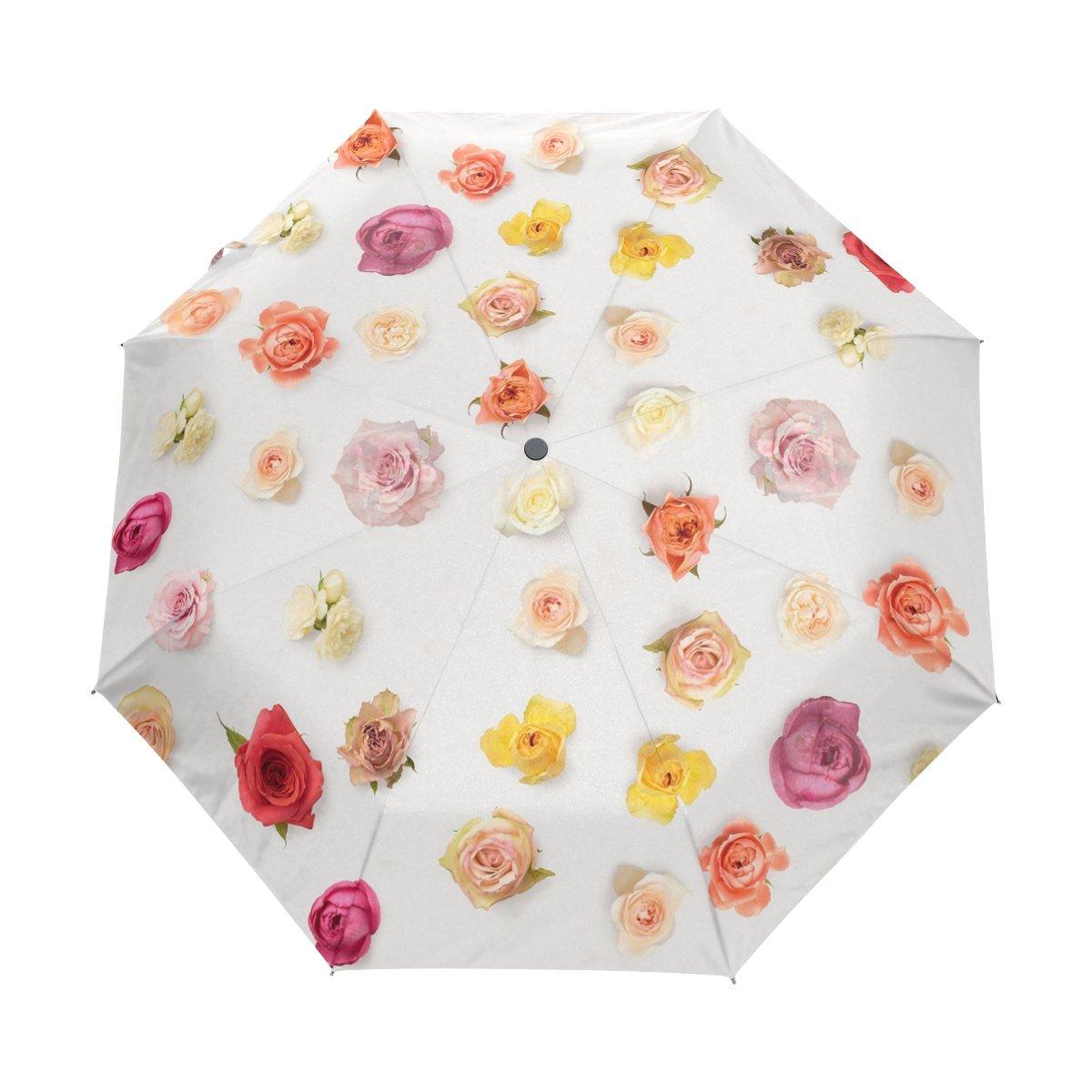 Floral Auto-open Windproof Travel Umbrella