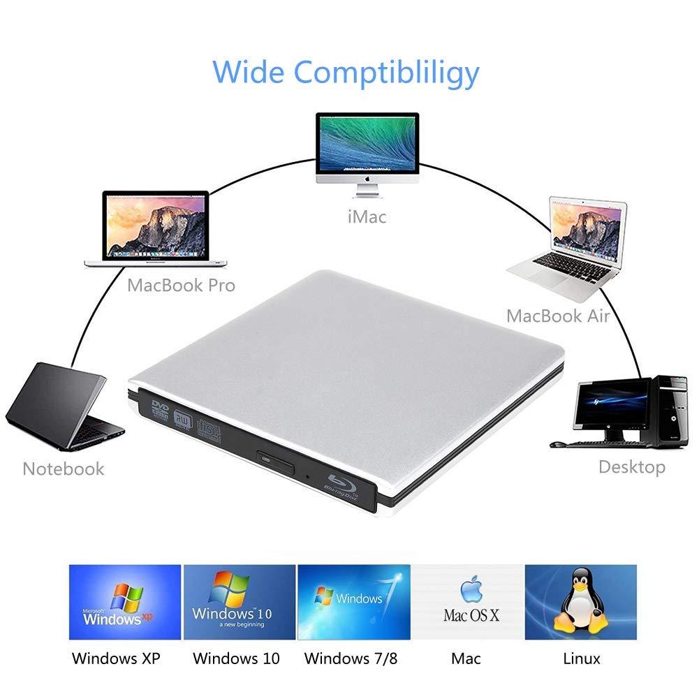 External 4K 3D Blu Ray DVD Drive, Portable USB 3.0 Blu Ray DVD Burner Player Reader Disk for Mac OS, Windows 7/8/10,Linxus, Laptop by MOGLOR (Image #6)
