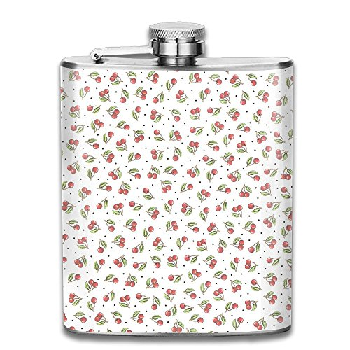 Wine Bar Hill Cherry (Cherry Pattern Portable Alcohol Drink Bottle Outdoor Sport Hip Wine Stainless Steel Flask & Funnel Set,7 Oz)