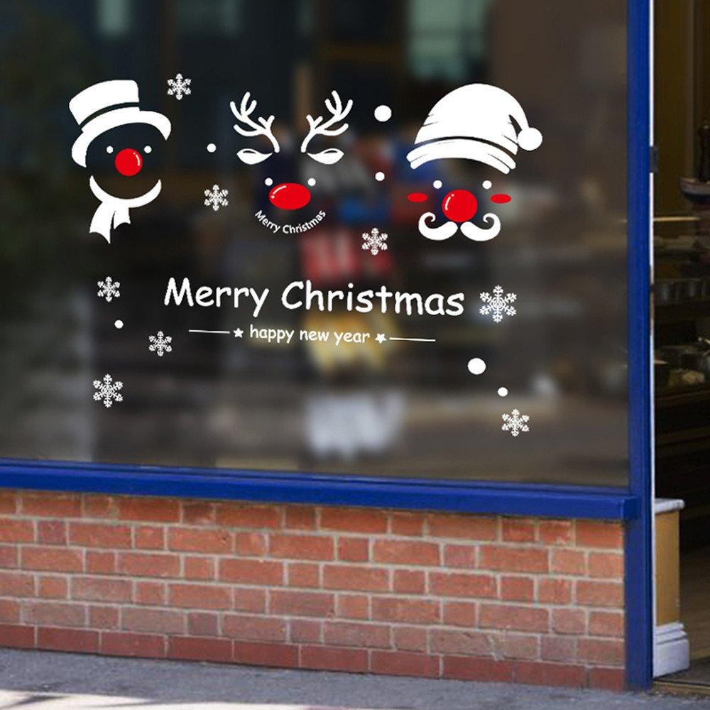 Futemo Christmas Snowman Wall Sticker Wall Glass Window Wallpaper Decoration Art Decals Wall Decoration Home Decor