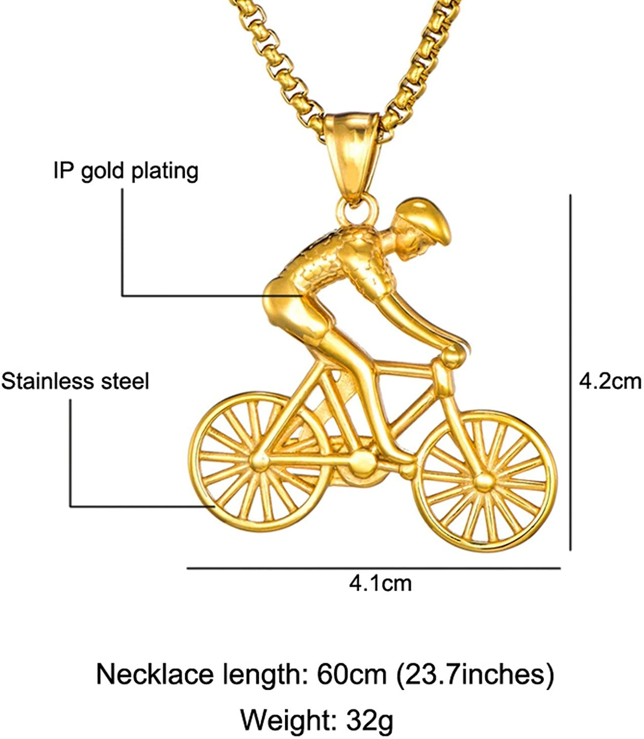 jkhhy Bike Pendant Men Necklace Stainless Steel Cycling Necklace Charms Body Bicycle Sports Necklace Cycling Jewelry Gift