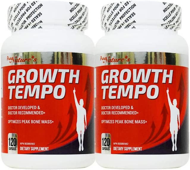 PNC Two Bottles of Growth Tempo 120 caps - Optimizes Peak Bone Mass + - Bone Supplement - Containing Growth Ingredients for Children/Teens and Various Vitamins and Calcium for Kids