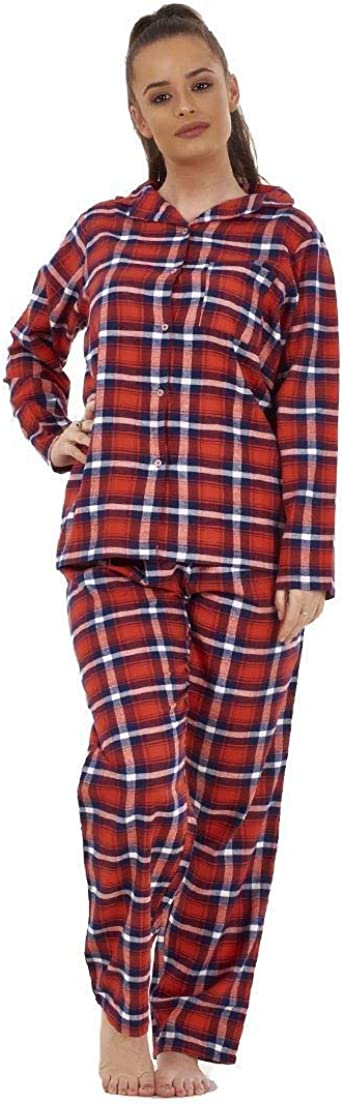 MARKS AND SPENCER Brushed Cotton Ladies Check Pyjamas Warm Long Sleeve RRP £25