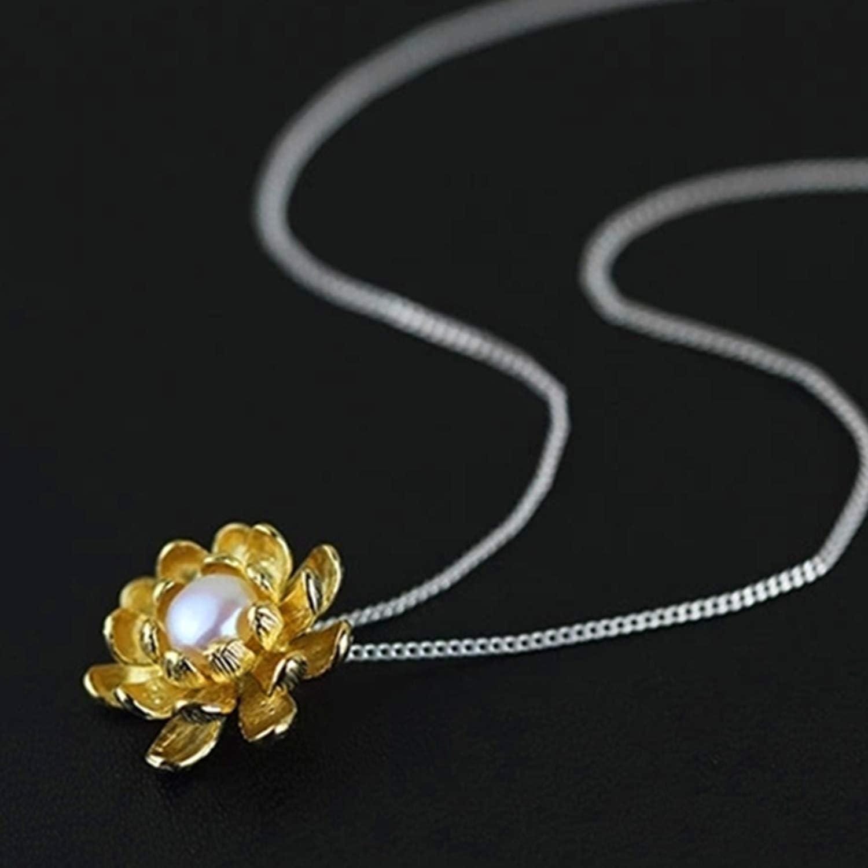 Lotus Fun Ciondolo in Argento Sterling 925 Realizzato a Mano Motivo Fiore di Loto Gioiello Unico per Donne e Ragazze. Creativo