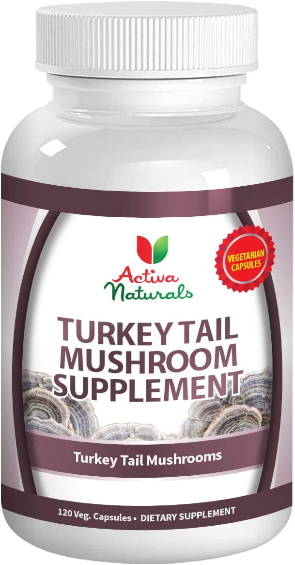 Turkey Tail Mushroom Supplement – 120 Veg. Capsules with Coriolus Versicolor Mushrooms
