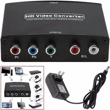 jahyshow 4 K HDMI a YPbPr Componente Audio y Adaptador convertidor V1.4 RGB R/L Salida de Audio para MacBook Apple TV Amazon Fire TV BLU-Ray DVD PS4 DVD, PSP, Xbox 360: Amazon.es: