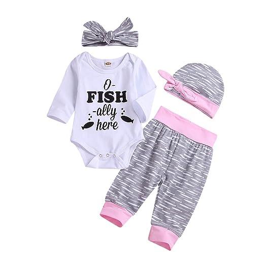 a8c4accf60d7 Baby Girls Clothes Outfit Newborn Infant Fish Print Romper Pants Hat  Headband Set 4 Pcs (