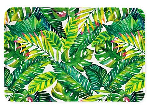 Goodbath Banan Leaf Bath Mats, Tropical Palm Tree Leaves Non Slip Bath Rugs Absorbent Bathroom Rugs Kitchen Floor Mat Carpet, 20 x 31 Inch, Green White