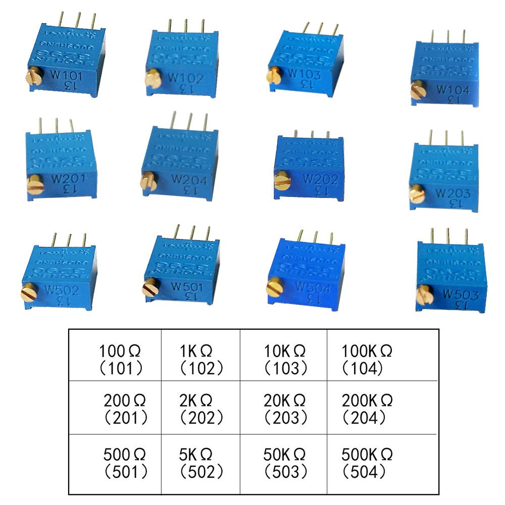 Greatwell 60pcs 3296w Multiturn Trimmer Potentiometer Kit High As A Rheostat Dc Circuits Electronics Textbook Precision Variable Resistor 500r 500k 2k 100r 100k 5k 200r 10k 1k 50k 20k 200k Ohm
