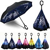 Procella Inverted Umbrella, Large Windproof Double Layer Canopy, Big Straight Reverse Umbrellas for Car, Travel, Rain, Sun and Outdoor Use, Hands-Free C-Shape Handle, UV Protection, Lightweight