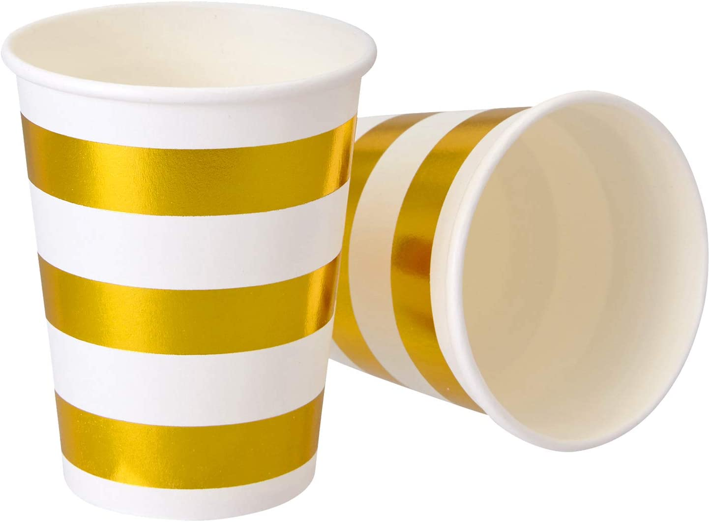 PARTY DISPOSABLE DECORATIVE HOT CUPS | 9 oz | Metallic Gold Stripe | for Upscale Parties and Events | 24 pc
