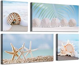 Beach Scene Canvas Picture Artwork: Starfish & Seashell on Seaside Wall Art Painting Print for Living Room (24'' x 12'' x 2 Panels + 12'' x 12'' x 2 Panels)
