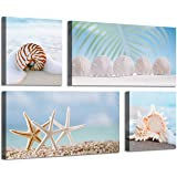 Beach Scene Canvas Picture Artwork: Starfish & Seashell on Seaside Wall Art Painting Print for Living Room (24'' x 12…