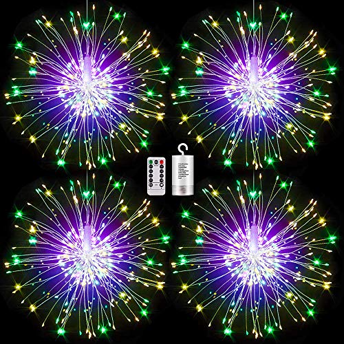 4 Pack Firework Lights led Copper Wire Starburst String Lights 8 Modes Battery Operated Fairy Lights with Remote,Wedding Decorative Hanging Lights for Party Patio Garden Bedroom Decoration (4, multi)