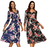 Little Black Dress for Women,Womens Autumn 3/4 Flare Sleeves Print Dress Bandage Sexy Dress,Women > Clothing > Dresses > Casual,Blue,XXXL