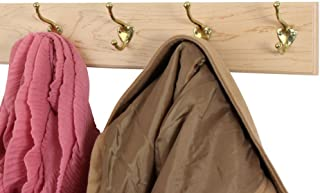"product image for Maple Coat Rack with Solid Brass Hat & Coat Style Hooks 4.5"" Ultra-Wide (Natural, 20"" x 4.5"" with 4 Hooks)"