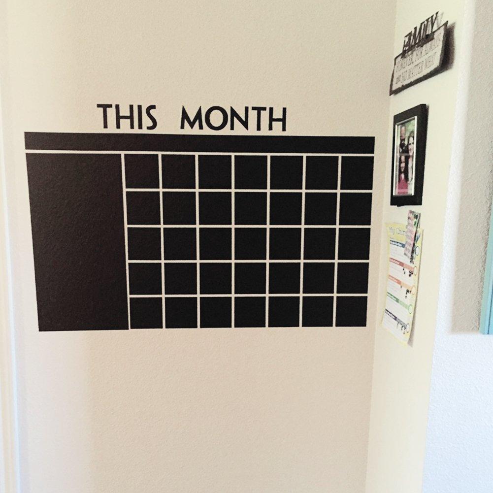 Calendario adesivo da parete riutilizzabile calendario piano memo lavagna adesivo da parete per casa e ufficio free size Nero