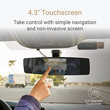 """YI Mirror Dash Cam 1080P Wi-Fi 4 3"""" Touchscreen 138° Angle In Car Camera 4G  All-Glass Lens Dashboard Camera with Night Vision, Emergency Recording,"""