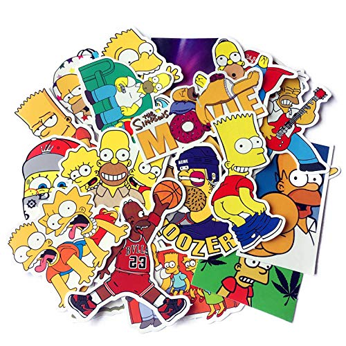(The Simpson Stickers for Water Bottles Laptop Kids Holiday Cars Motorcycle Bicycle Skateboard Luggage Bumper Waterproof Decal 25pcs Pack)
