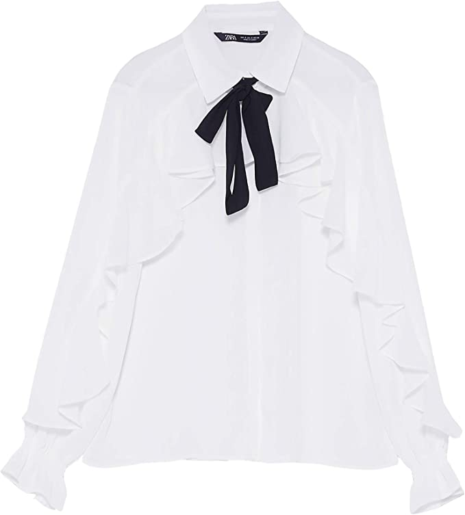 Zara 3666/181 Blusa con Volantes para Mujer con Lazo - Blanco - X-Large: Amazon.es: Ropa y accesorios