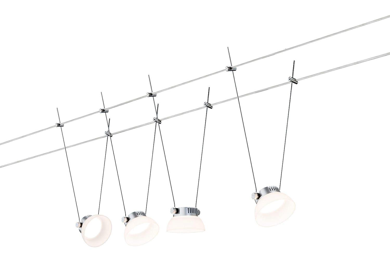 Paulmann 941.12 Seilsystem IceLED1 Set erweiterbar Warmwei/ß 4x4W LED Chrom matt 94112 Seilleuchte H/ängeleuchte