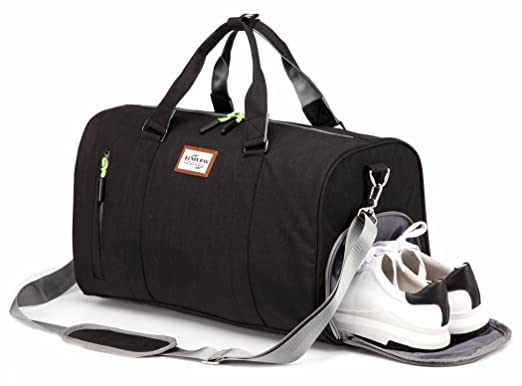 Kenox Duffle Bag Sports Gym Travel Luggage Including Shoes Compartment Black
