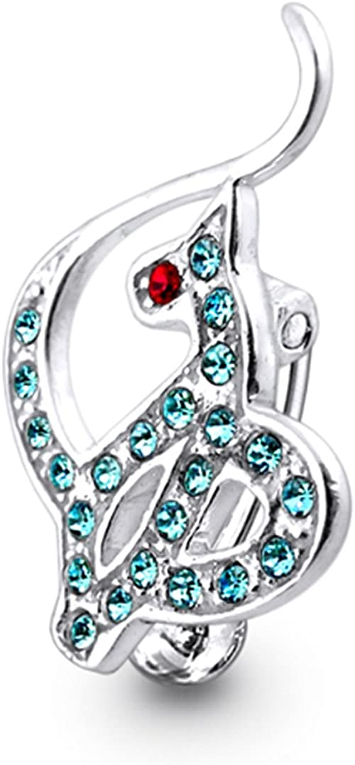 AtoZ Piercing Fancy Heart Reverse Bar 925 Sterling Silver with Stainless Steel Belly Button Rings