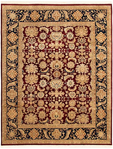 eCarpet Gallery Large Area Rug for Living Room, Bedroom | Hand-Knotted Wool Rug | Finest Agra Jaipur Bordered Red Rug 8'0