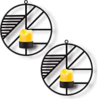 Kathy Christmas Holiday Wall Mounted Candle Holder,Set of 2 Candle Sconces Wall Decor for Home Living Room Wedding Events,Black