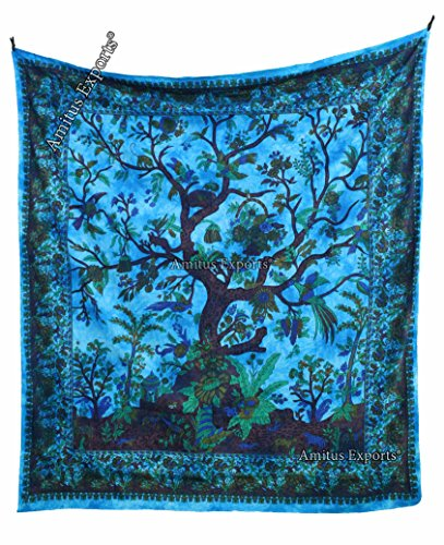 amitus-exports-1-x-classic-tree-89x80-approx-inches-turqoise-color-cotton-fabric-multi-purpose-handm