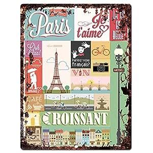 Paris croissant sign rustic vintage retro for Bar decor amazon