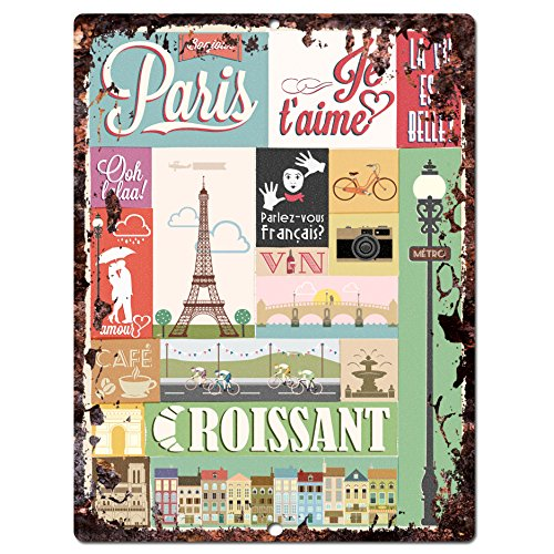 Paris Croissant Sign Rustic Vintage Retro Kitchen Bar Pub