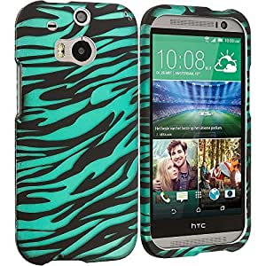 Accessory Planet(TM) Black/Baby Blue Zebra 2D Hard Snap-On Design Rubberized Case Cover Accessory for HTC One M8 by ruishername
