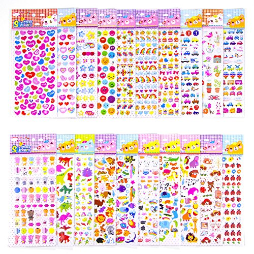 1200+ high quality 3D puffy stickers for kids, teachers, great for goody bags and school supply by MCY MoCeYa