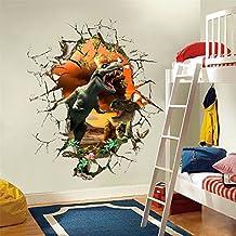 ufengke 3D Jurassic World Vivid Dinosaur Wall Decals, Children's Room Nursery Removable Wall Stickers Murals