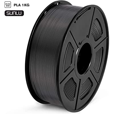SUNLU Filamento PLA 1.75mm 1kg Impresora 3D Filamento, Precisión Dimensional +/- 0.02 mm, PLA Negro