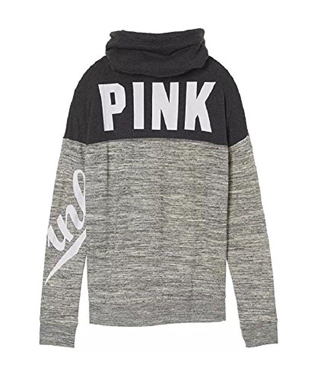 Victorias Secret Pink High Cowl Neck Colorblock Pullover Sweatshirt Gray Marl Medium