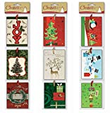Christmas Gift Tags Embelished Foil Finish Holiday Present Name Tags 36 Jumbo Hangers in 9 Assorted Designs Santa, Penguin, Snowman, Reindeer, Wreath, , Tree, Present