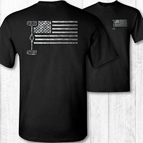American Flag 4X4 on a Black T Shirt