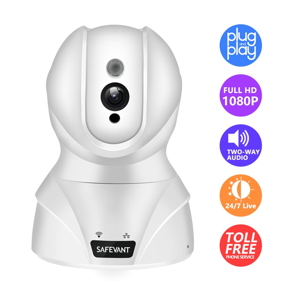 Security Camera, SAFEVANT HD Wireless IP Camera Wifi Surveillance Video Recorder With Two Way Audio Night Vision For Pet Monitor, Nanny Camera, Baby Monitor and Puppy Cam (1080P-White) by SAFEVANT