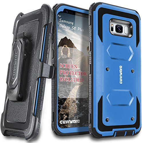 Samsung Galaxy S8 Plus Case, [Aegis Series] + Full-Coverage Screen Protector, Heavy Duty Rugged Full-Body Armor Holster Case [Belt Swivel Clip][Kickstand] for Samsung Galaxy S8 +, Blue