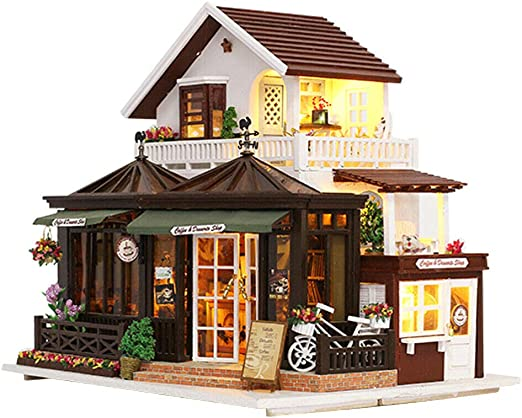 DIY Dolls House Kit Wooden Miniature with Furniture LED Lights Coffee Shop