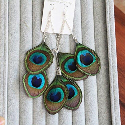 RUNHENG Handmade Feather Peacock Pendant Long Earrings on Silver Hook, Vintage Drop Earrings -