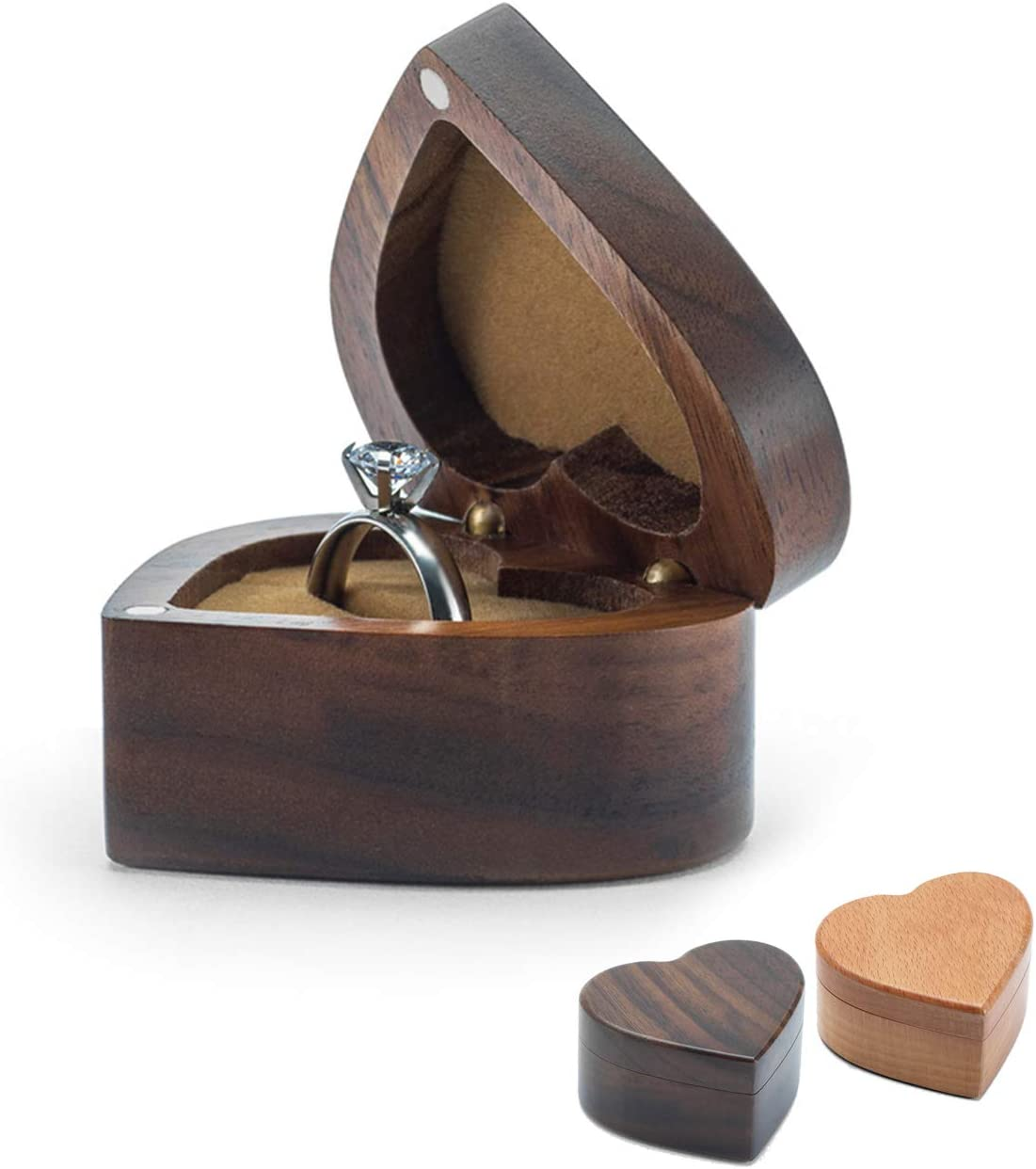 Wislist Heart Shaped Walnut Wood Ring Box Velvet Soft Interior Holder Jewelry Chest Organizer Earrings Coin Jewelry Wooden Presentation Box Case for Proposal Engagement Wedding Ceremony Birthday Gift