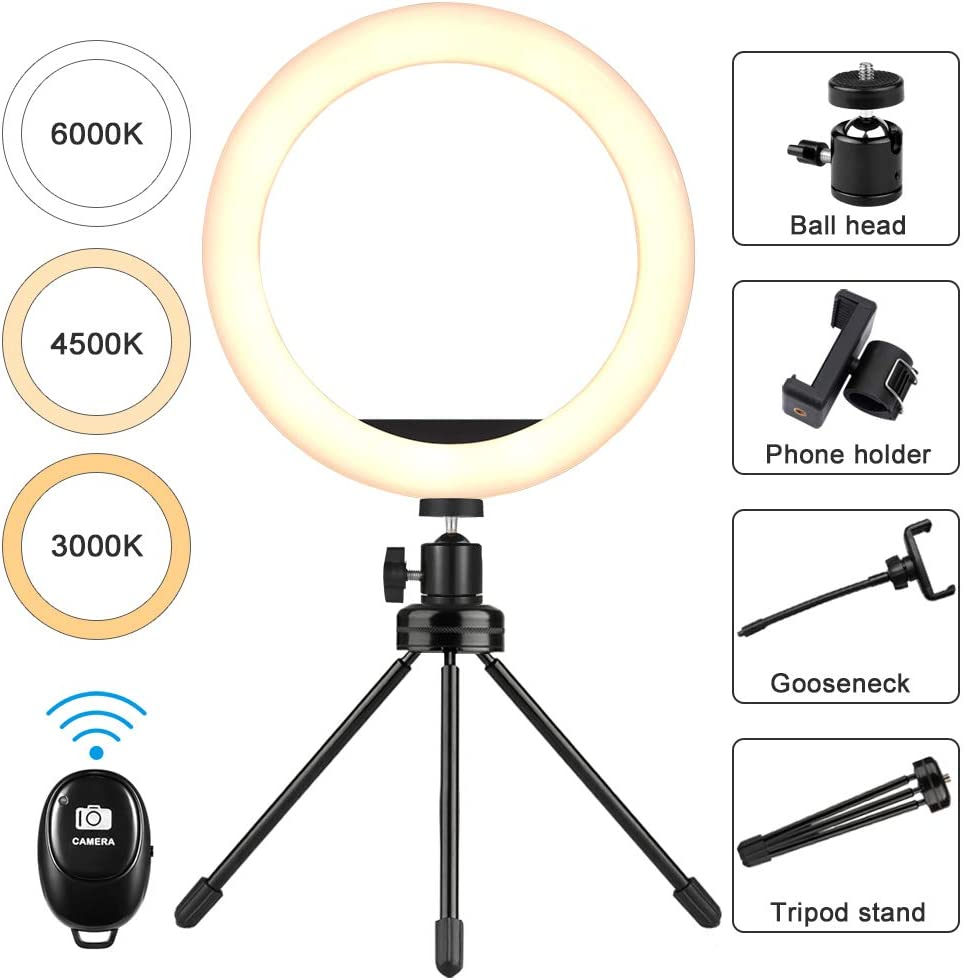 Makeup Makeup Light Ring Light for Phone 10 LED Selfie Ring Light with Tripod Stand /& Cell Phone Holder Photography Lighting Circle Light for Live Stream Led Camera Ringlight