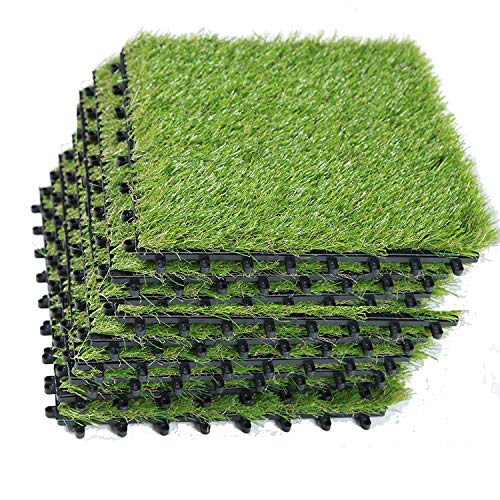 ECO MATRIX Artificial Grass Tiles Interlocking Fake Grass Deck Tile Synthetic Grass Turf Green Lawn Carpet Indoor Outdoor Grass Tile Mat for Patio Balcony Garden Flooring Decor 1'x1' (9 Packs)