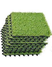 ECO MATRIX Artificial Grass Tiles Interlocking Fake Grass Deck Tile Synthetic Grass Turf Carpet Mat for Patio Balcony Garden Flooring Decor 1'x1' (9 Packs)