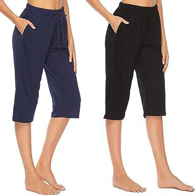 23db80007f14a9 Vlazom Damen Schlafanzughose 100% Baumwolle Pyjamahose Nachtwäsche Kurz  Freizeit Hose mit Taschen und Kordelzug
